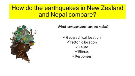 How do the <strong>earthquakes</strong> <strong>in</strong> New Zealand and <strong>Nepal</strong> compare? What comparisons can we make? Geographical location Tectonic location Cause Effects Responses.