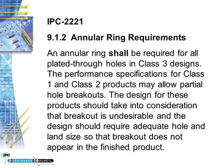 IPC-2221 Annular Ring Requirements