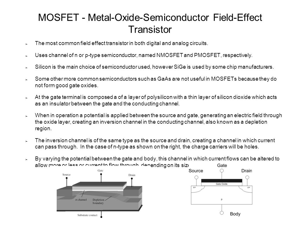 MOSFET   Metal Oxide Semiconductor Field Effect Transistor   ppt ...