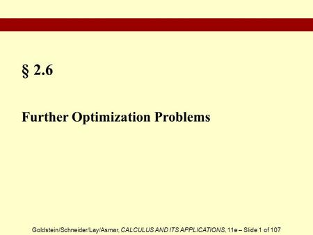 § 2.6 Further Optimization Problems.