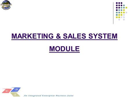 MARKETING & SALES SYSTEM MODULE. SALES PROCESS - DOMESTIC.