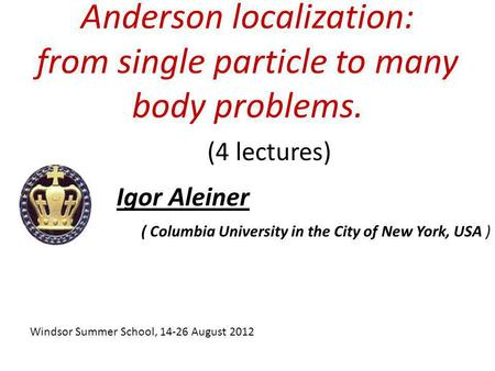 Anderson localization: from single particle to many body problems.