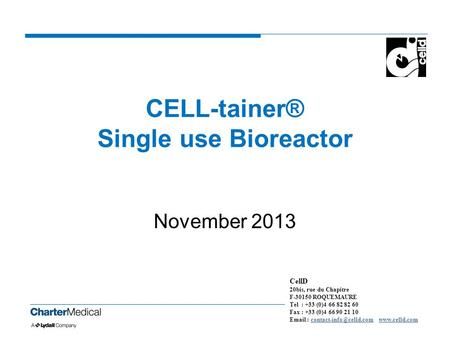CELL-tainer® Single use Bioreactor