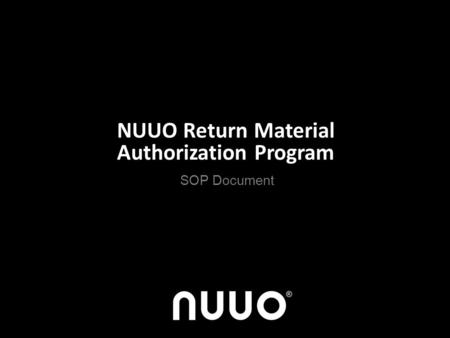 NUUO Return Material Authorization Program