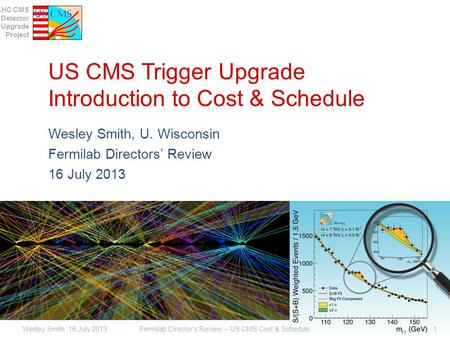 LHC CMS Detector Upgrade Project US CMS Trigger Upgrade Introduction to Cost & Schedule Wesley Smith, U. Wisconsin Fermilab Directors Review 16 July 2013.
