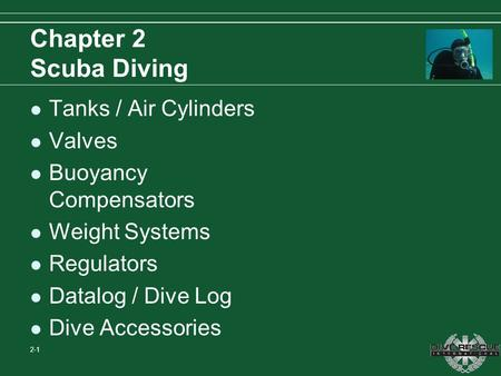 Chapter 2 Scuba Diving Tanks / Air Cylinders Valves
