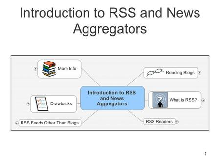 1 Introduction to RSS and News Aggregators. 2 Reading Blogs OK: As a Web page –Must visit multiple sites to check for updates Better: Via a RSS Feed –Updates.