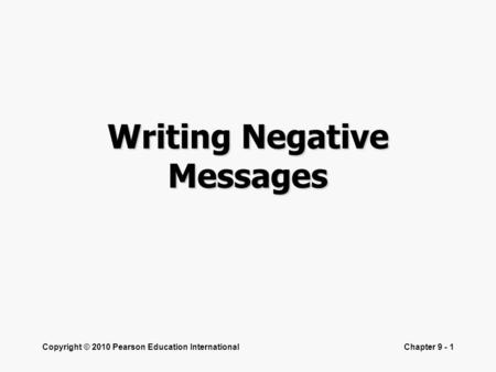 Writing Negative Messages