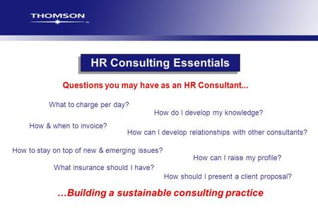 What to charge per day? How can I raise my profile? HR Consulting Essentials …Building a sustainable consulting practice How should I present a client.