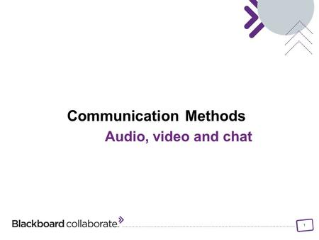 1 Communication Methods Audio, video and chat. 2 Objectives Identify different methods of communication – non- verbal, audio, video, and chat Identify.