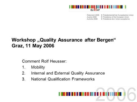 Workshop Quality Assurance after Bergen Graz, 11 May 2006 Comment Rolf Heusser: 1.Mobility 2.Internal and External Quality Assurance 3.National Qualification.