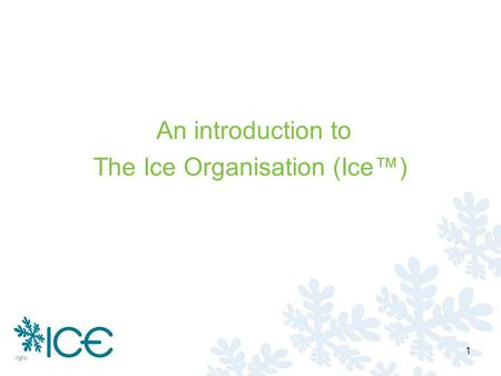An introduction to The Ice Organisation (Ice) 1. Copyright and confidentiality The Ice Organisation Ltd reserves all rights in respect of the intellectual.