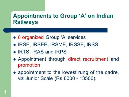 Appointments to Group 'A' on Indian Railways