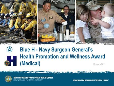 Blue H - Navy Surgeon Generals Health Promotion and Wellness Award (Medical) 12 March 2013.