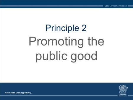 Principle 2 Promoting the public good. Because the public sector is the mechanism through which governments deliver programs and services for the benefit.