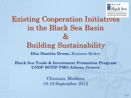 1/23 Existing Cooperation Initiatives in the Black Sea Basin & Building Sustainability.