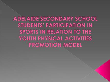 Introductory Background The Youth Physical Activities Promotion Model Method : Participants and Research Design Results/Analysis Conclusion Recommendations.