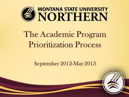The Academic Program Prioritization Process September 2012-May 2013.