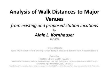 Analysis of Walk Distances to Major Venues from existing and proposed station locations by Alain L. Kornhauser 12/18/12 Format of labels: Name (Walk Distance.