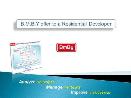 B.M.B.Y offer to a Residential Developer Analyze the project Manage the results Improve the business.