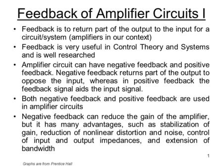 Feedback of Amplifier Circuits I