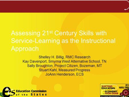 Assessing 21 st Century Skills with Service-Learning as the Instructional Approach Shelley H. Billig, RMC Research Kay Davenport, Smyrna West Alternative.