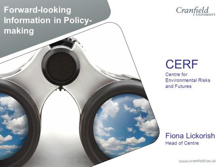 Forward-looking Information in Policy- making CERF Centre for Environmental Risks and Futures Fiona Lickorish Head of Centre.