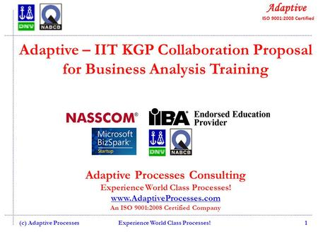 Adaptive – IIT KGP Collaboration Proposal for Business Analysis Training Adaptive Processes Consulting Experience World Class Processes! www.AdaptiveProcesses.com.