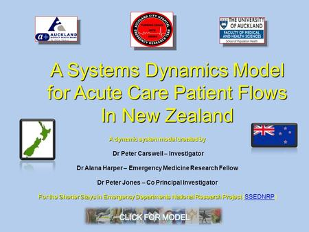 A Systems Dynamics Model for Acute Care Patient Flows In New Zealand A dynamic system model created by Dr Peter Carswell – Investigator Dr Alana Harper.
