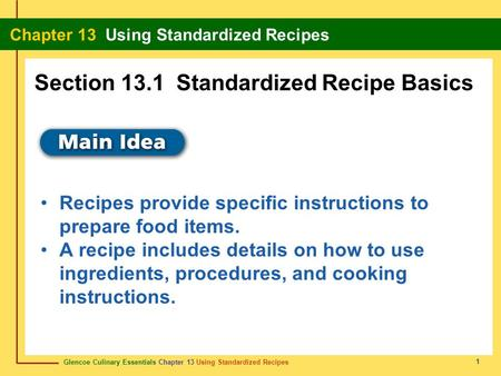 Section 13.1 Standardized Recipe Basics