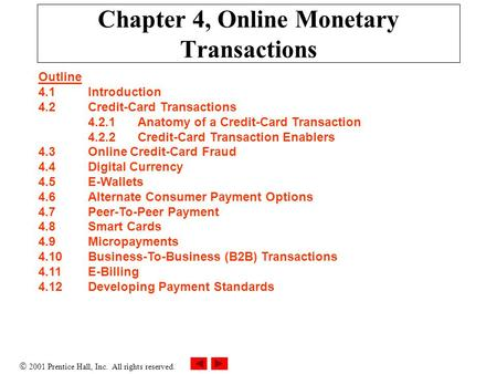 Chapter 4, <strong>Online</strong> Monetary Transactions