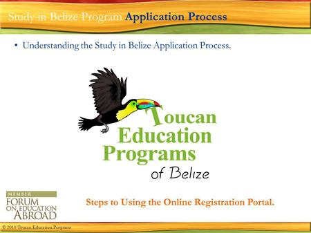 Study in Belize Program Application Process Understanding the Study in Belize Application Process. Steps to Using the Online Registration Portal. © 2010.