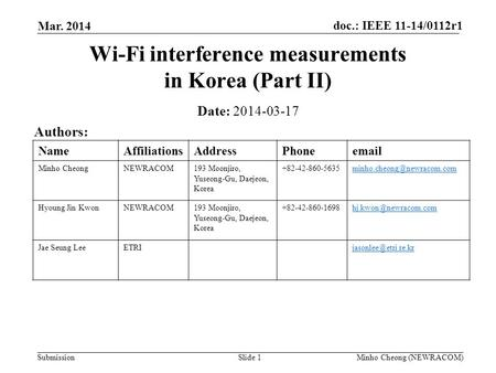 Wi-Fi interference measurements in Korea (Part II)
