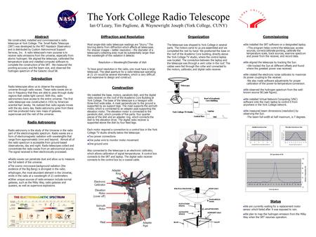 The York College Radio Telescope Ian OLeary, Tim Paglione, & Waynewright Joseph (York College, CUNY) Introduction Radio telescopes allow us to observe.