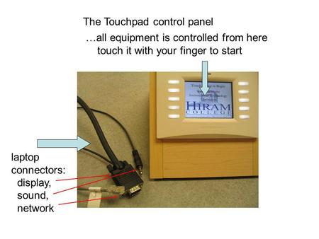 The Touchpad control panel …all equipment is controlled from here touch it with your finger to start laptop connectors: display, sound, network.