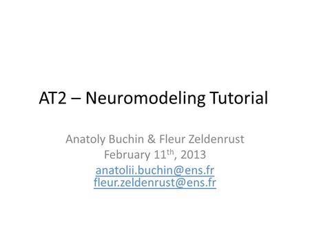 AT2 – Neuromodeling Tutorial Anatoly Buchin & Fleur Zeldenrust February 11 th, 2013