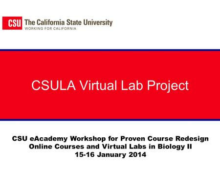 CSULA Virtual Lab Project CSU eAcademy Workshop for Proven Course Redesign Online Courses and Virtual Labs in Biology II 15-16 January 2014.