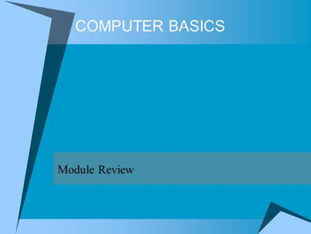 COMPUTER BASICS Module Review.