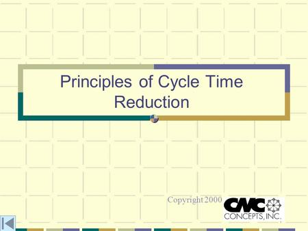 1 Principles of Cycle Time Reduction Copyright 2000.