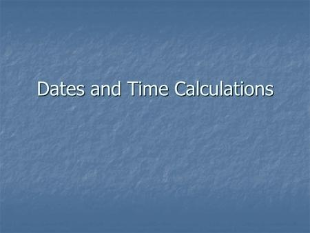 Dates and Time Calculations. Dates Dates are stored as serial numbers in Excel Dates are stored as serial numbers in Excel What does the serial number.