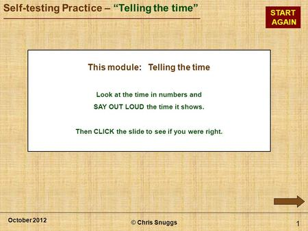 This module: Telling the time
