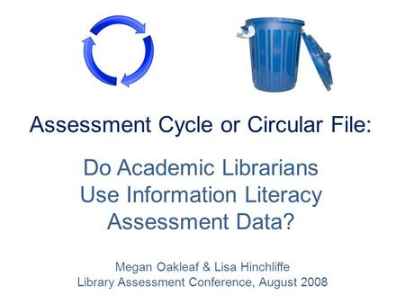 Assessment Cycle or Circular File: Do Academic Librarians Use Information Literacy Assessment Data? Megan Oakleaf & Lisa Hinchliffe Library Assessment.