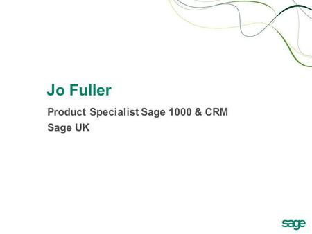 Product Specialist Sage 1000 & CRM Sage UK