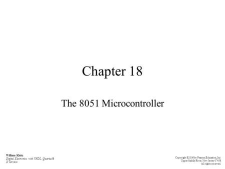 Chapter 18 The 8051 Microcontroller