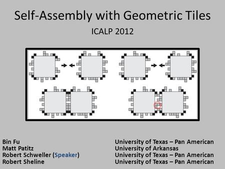 Self-Assembly with Geometric Tiles ICALP 2012 Bin FuUniversity of Texas – Pan American Matt PatitzUniversity of Arkansas Robert Schweller (Speaker)University.