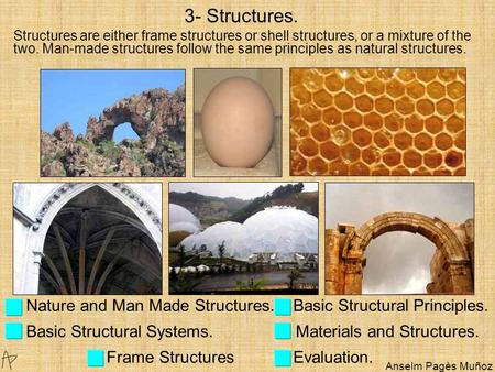 Nature and Man Made Structures. Basic Structural Principles. Basic Structural Systems. Materials and Structures. Frame Structures Evaluation. 3- Structures.