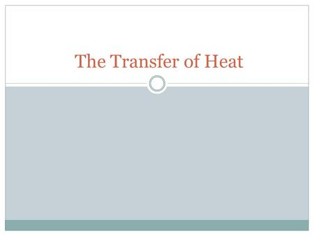 The Transfer of Heat.
