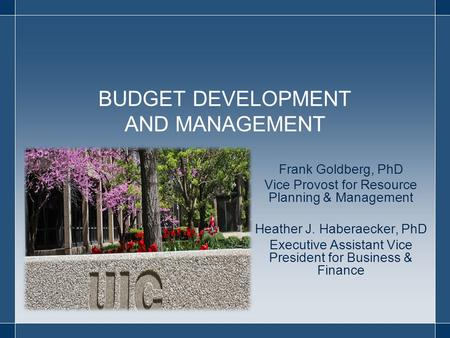 BUDGET DEVELOPMENT AND MANAGEMENT