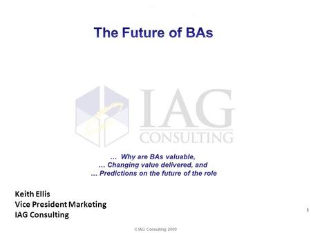 Keith Ellis Vice President Marketing IAG Consulting © IAG Consulting 2009 1.