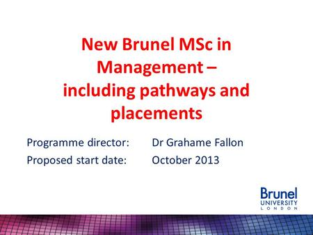 New Brunel MSc in Management – including pathways and placements Programme director:Dr Grahame Fallon Proposed start date:October 2013.